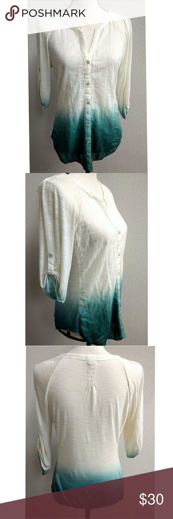 """Anthropologie TINY Dip Dye Ombre Shirt Size Medium TINY from Anthro, Ivory to Forest Green Ombre Dip Due Popover Top with roll cuff button tab sleeve.  Condition: No holes or stains. Looks to run a little small.   Size Label: Medium Flat lay measurements: 25"""" Length 17.5"""" Left to right underarm 13"""" length from underarm to bottom hem Anthropologie Tops Blouses"""