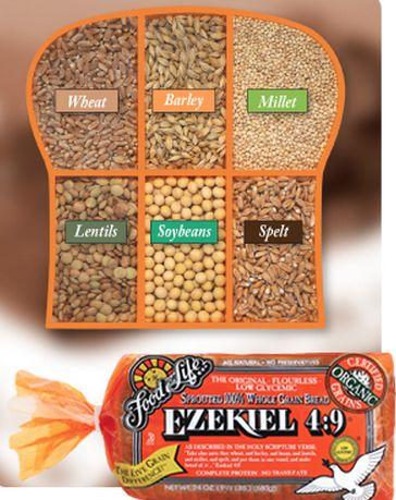 Un pain bénit vous dites? Oh que oui! Les produits Ezekiel 4 : 9  sont fabriqués à la ressemblance du verset 4 : 9 de l'Ancien Testament écrit par le prophète Ézéchiel, le tout pour assurer une nutrition complète inégalée.    « Prends du froment, de l'orge, des fèves, des lentilles, du millet et de l'épeautre, mets-les dans un vase, et fais-en du pain autant de jours que tu seras couché sur le côté; tu en mangeras pendant trois cent quatre-vingt-dix jours. » Ézéchiel