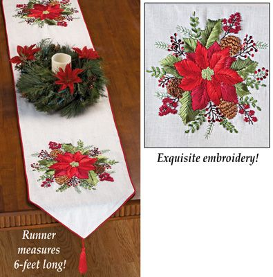 Embroidered Poinsettia Ribbon Table Runner