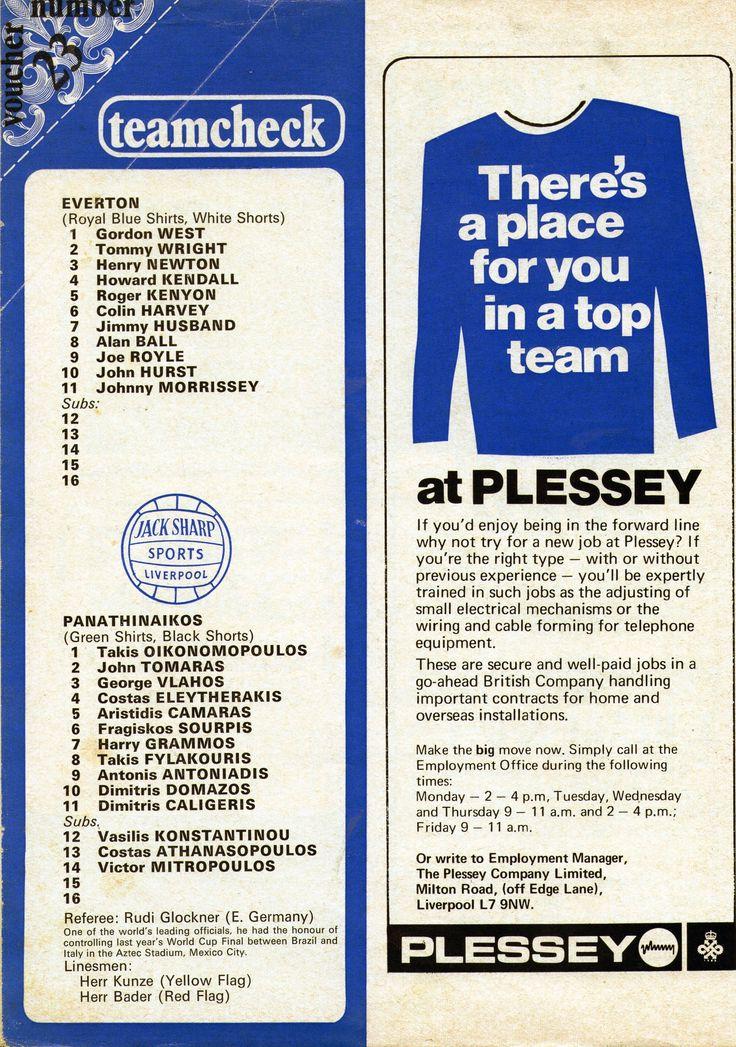 Everton v Panathinaikos, Everton 1970-71 European Cup Quarter Fina's Team sheet from programme