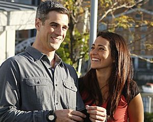 """""""Clue: Si"""" -- Eddie Cahill (left) and Natalie Martinez (right) prepare to shoot a scene on location in New York City, on CSI: NY, scheduled ..."""