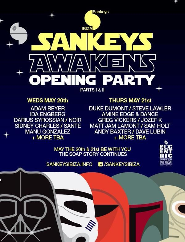 Opening Party at Sankeys Ibiza with this amazing line-up in two days, including Adam Beyer, Darius Syrossian, Duke Dumont, Steve Lawler, Amine Edge & Dance and so many more. #ibiza2015