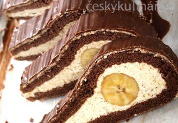 SLONÍ OKO vejce 6 ks cukr krupice 6 mouka pšeničná polohrubá 2 kakao 2 kypřicí prášek do pečiva půl lžičky   vlašské ořechy na krém 150 g cukr vanilinový na krém 2 ks mléko na krém 100 ml cukr moučka na krém 3 máslo na krém 250 g banány 3 ks čokoláda na vaření na polevu 100 g máslo na polevu 30 g