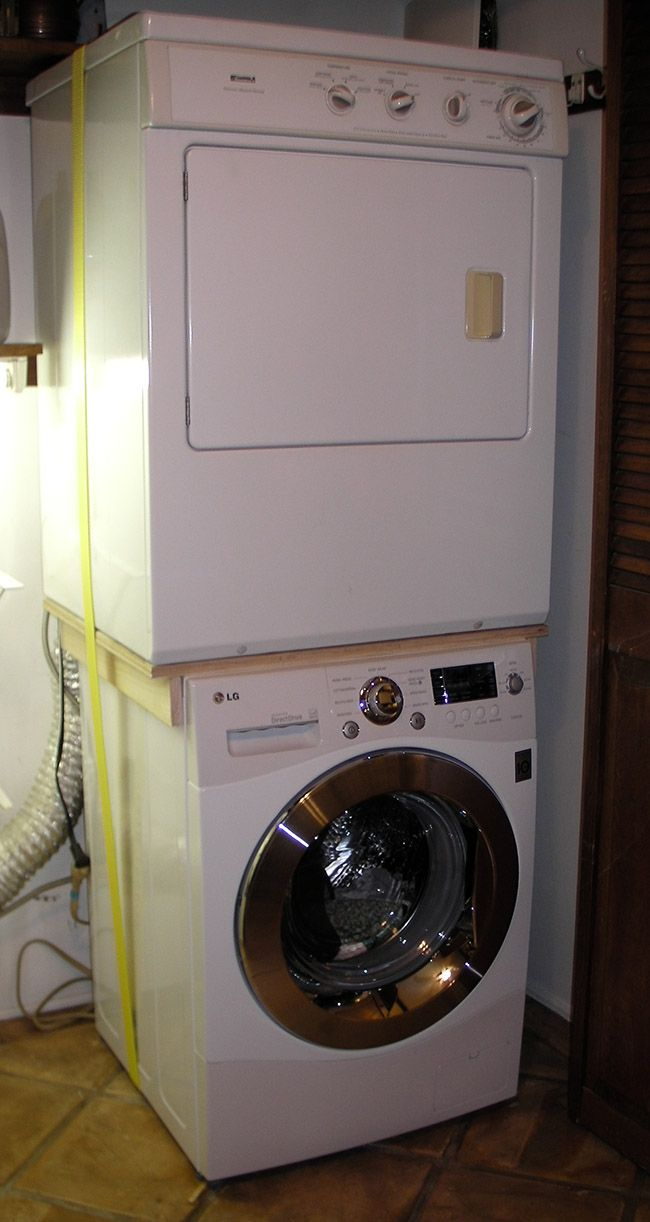 Work surface for washer and dryer - Use Custom Brace To Stack Incompatible Washer And Dryer