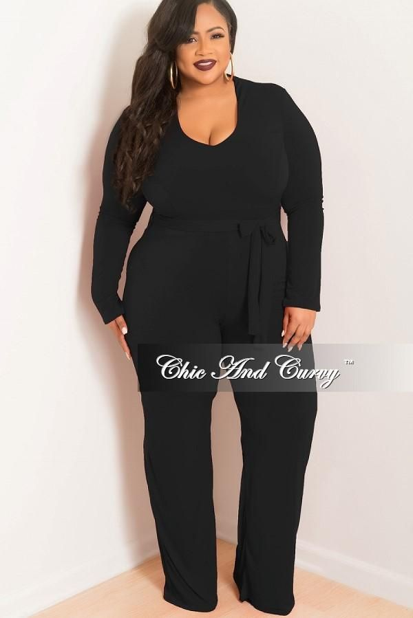 65acbb89148 Final Sale Plus Size Jumpsuit with Attached Tie in Black in 2019 ...