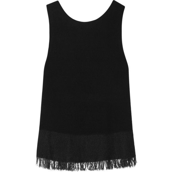 THEORY  Vendla fringe-trimmed knitted tank (1.614.045 IDR) ❤ liked on Polyvore featuring tops, theory tank, fringe top, theory tank top, fringe tank top and theory tops