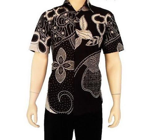 Model Kemeja Batik Pria Lengan Pendek Warna Hitam