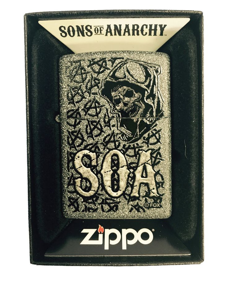 Zippo Custom Lighter - Sons of Anarchy SOA ANARCHY REPEATING Reaper Iron Stone