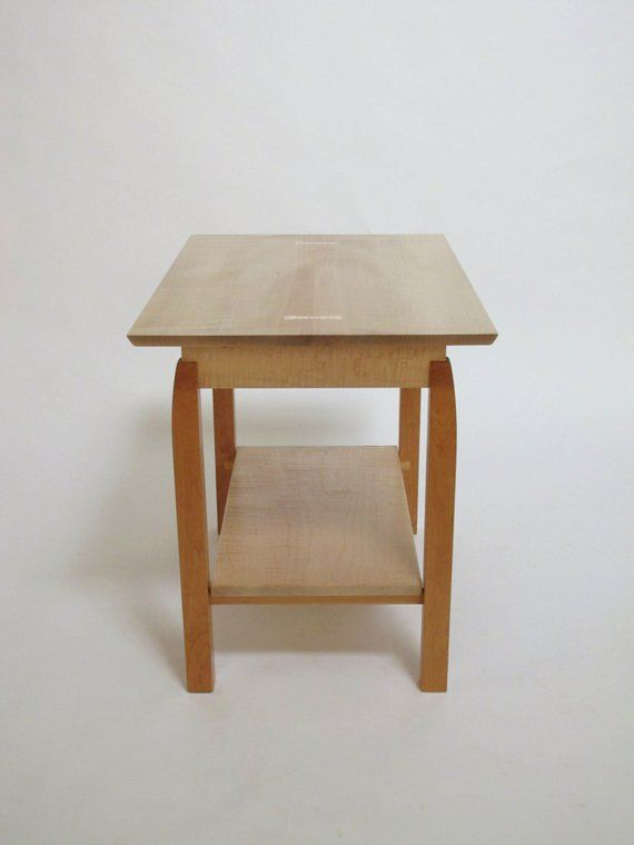 Small Coffee Table With Shelf  Narrow Coffee Table, Modern Wood Coffee Table   Handmade Custom Furnit