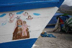 religious icons hand painted on local fishing boat, Burriana