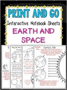 I love foldables, but sometimes I dont have the time for the maintenance part of them. These interactive notebook sheets are minimal cutting and gluing for your students. Just print and go! Be sure to reduce the image down to 85% if you are using composition notebooks. **INCLUDES ANSWER KEYS!!**-Take a look at what is included!-Overview for day and night (Earths rotation)-Overview for the seasons (Earths revolution)-2D model for Earths revolution-In depth look at the importance of Earths ...