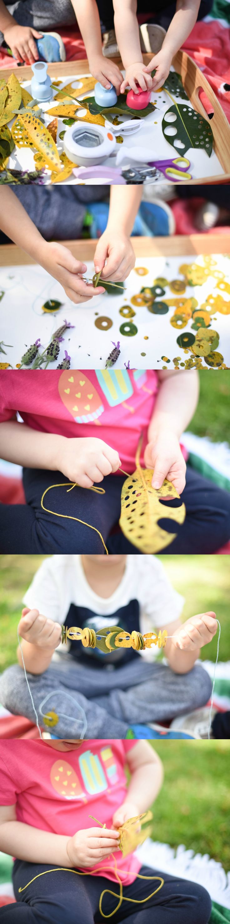 Hole Punch Leaf Threading & Weaving with Nature's Confetti - Outdoor fun for Toddlers & Preschoolers! www.acraftyliving.com