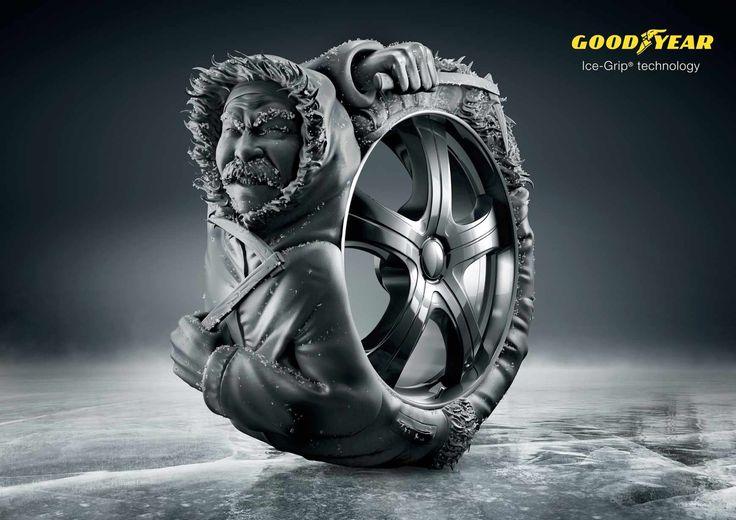 Goodyear: Ice-Grip Prosopopeya visual: Atribución de actitudes humanas a entes abstractos, objetos o animales.
