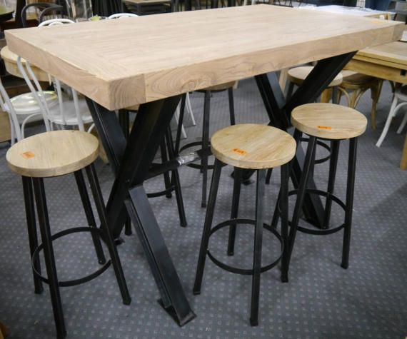 New Recycled Timber French Metal Bar Height High Dining Table 6 Stools Reclaimed Elm Wood Wooden Setting Set