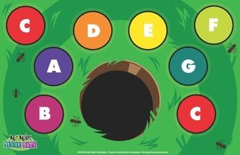 This is a fun way to teach early learners the notes of the C Diatonic Scale. There are many fun-game options to use this graphic mat. I recommend it to be laminated. (1) You can teach with it as a poster(2) Kids love to toss bingo chips or bean bags onto it.(3) You can place the 8 small matching Boomwhackers on the mat and students can use a bean bag/ball to playing putt putt.