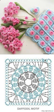 Lindo granny square con flor central punto puff