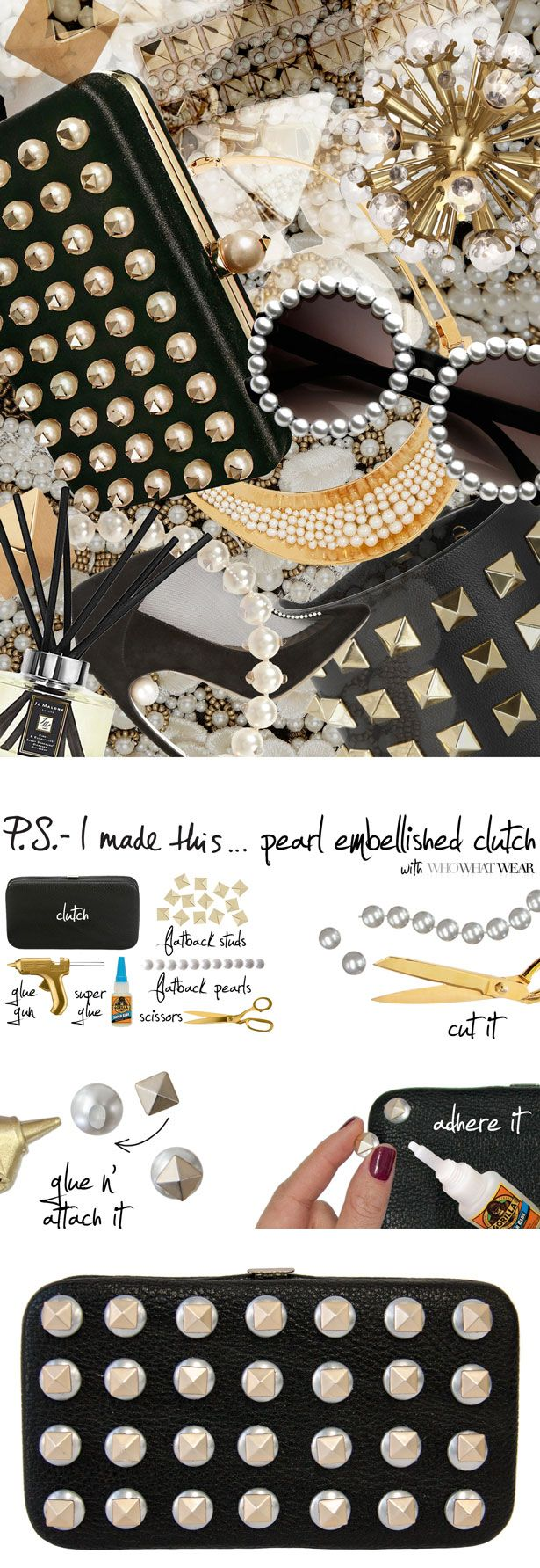 P.S.- I made this...Pearl Embellished Clutch inspired by @Valentino with @Who What Wear  #PSIMADETHIS #DIY