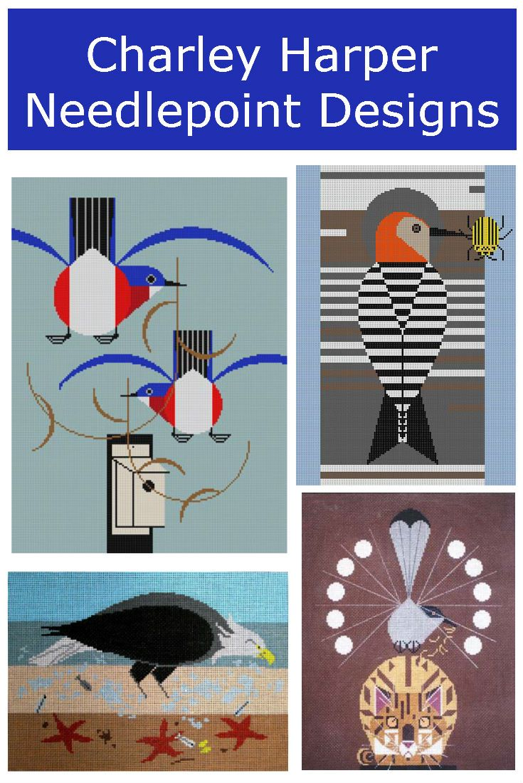 Charley Harper needlepoint designs. Stitch your own iconic Charley art. It's easy.