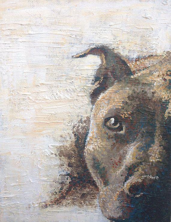 Pitbull Painting, Pitbull Artist, Pitbull Rescue, Pitbull Dog Art, Blue Nose Pitbull, Heavy Texture, Dog Art, Gift, RescueArtco