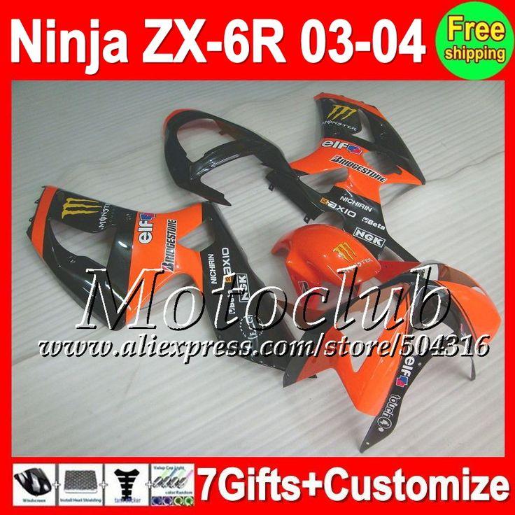 Купить товарОранжевый черный 7 подарки для KAWASAKI ниндзя ZX6R ZX636 03   04 ZX 6R 03 04 C871 ZX 6 R ZX 6R 636 2003 2004 зализа оранжевый черный в категории Щитки и художественная формовкана AliExpress.                              Удостоверение личности aliexpress: Мотоклуб