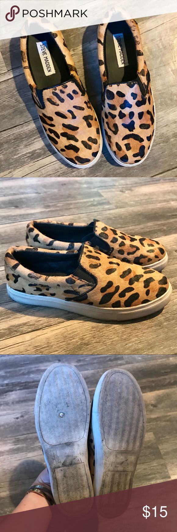 Steve Madden Leopard Print Slip On Sneakers The cutest Steve Madden leopard print slip on sneakers! The perfect comfort chic! Great used condition with a tiny amount of wear as shown in the last picture. Bundle 2+ items and save 20%! Steve Madden Shoes Sneakers