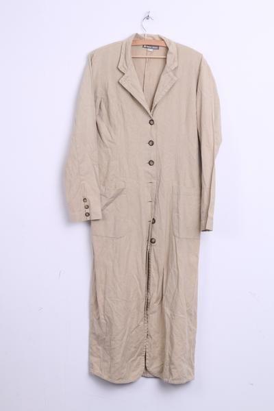 NAF NAF Womens M Long Dress Blazer Linen Cotton Beige Single Breasted - RetrospectClothes