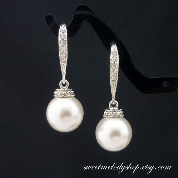 Wedding Jewelry Bridesmaid Gift Bridesmaid Jewelry Bridal Pearl Earrings White OR Cream Swarovski Round Pearl Drop Earrings Cubic Zirconia