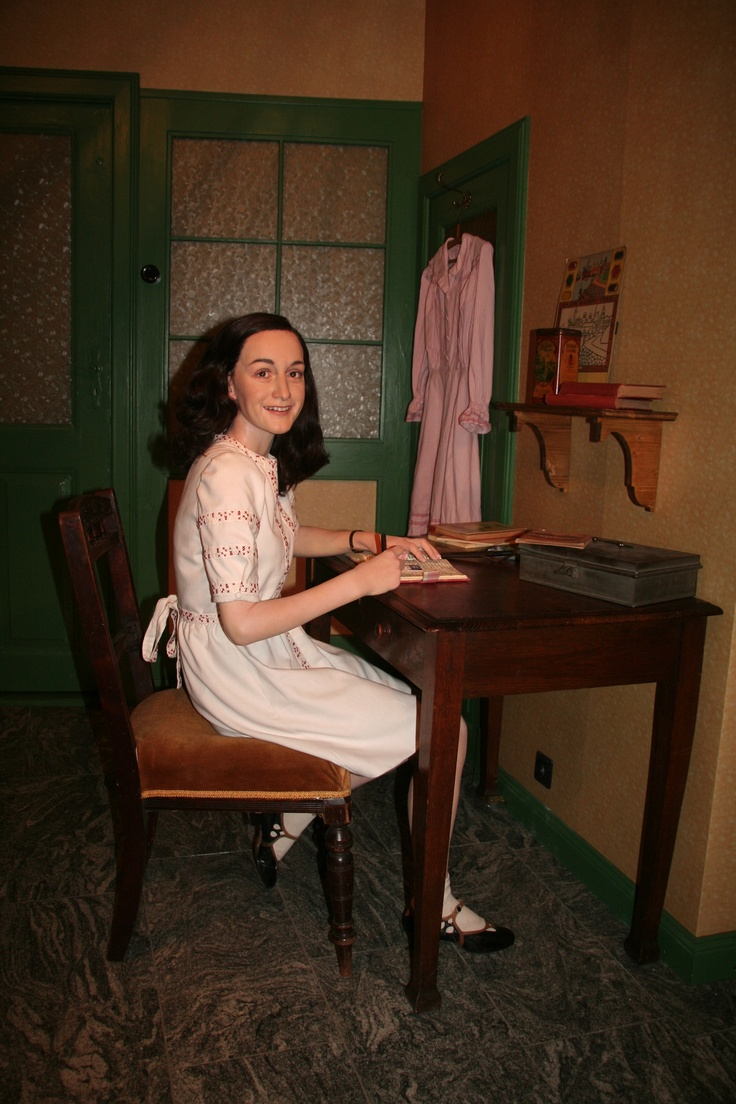 The uncannily lifelike wax form of Anne Frank in Madame Tussauds, Berlin. I look at her and expect her to speak. - Ronni