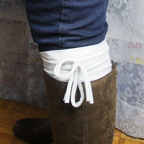 Boot cuffs from an old t-shirt