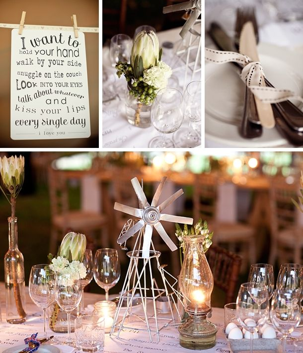 Vintage/Shabby Chic Wedding Theme Reception table Decor