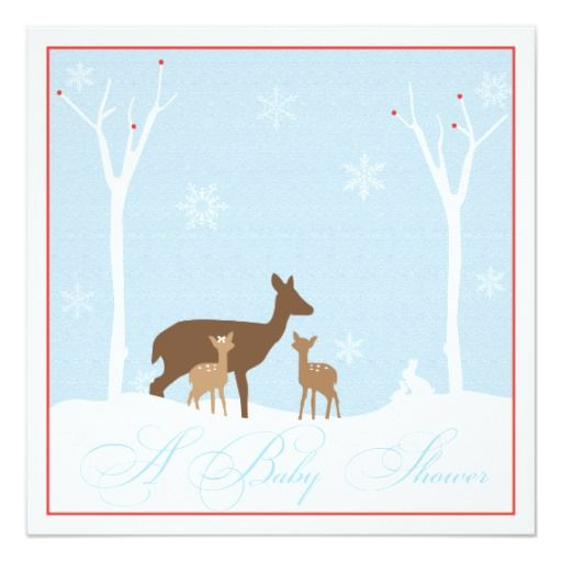 Winter Twin Boy and Girl  Baby Shower Invitation