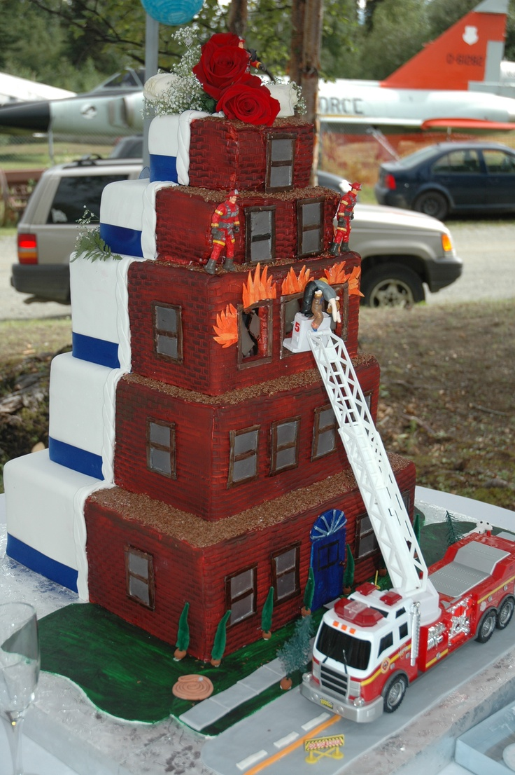 Fire Fighter wedding cake. this would be so fun to make!!!  maybe scale it down a bit for me