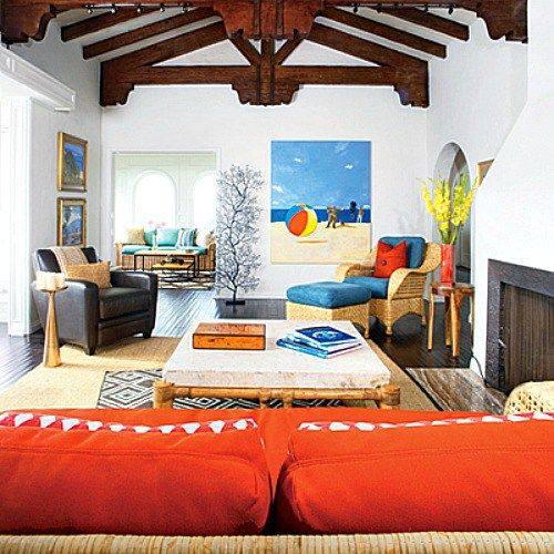 1000 images about beach bedrooms on pinterest tropical colors shelf ideas and nautical - Blue and orange living room ...
