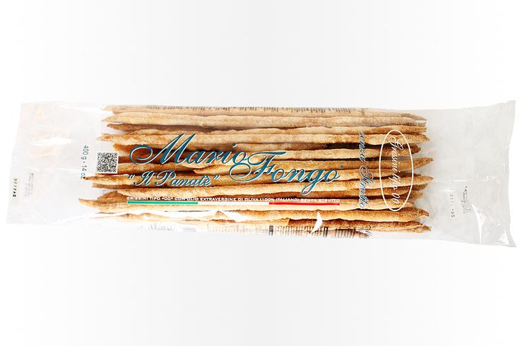 Mario Fongo Bread Sticks With a particular attention to the flour blend, and carefully selected in collaboration with approved millers, to obtain a crispness, and flavour, Mario Fongo Bread Sticks use only the best ingredients. The leavened dough is rolled out by hand, shaping the bread-sticks and creating their unique aroma.