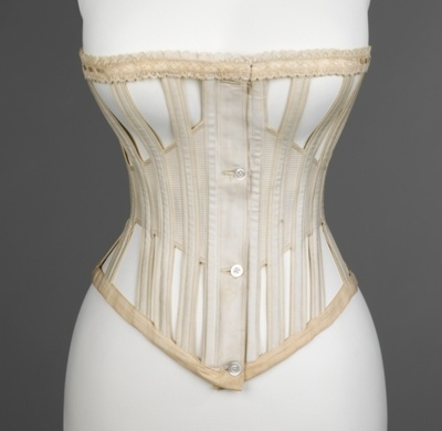 """1871 """"ventilated"""" corset for summer and sporting wear. Buttons instead of a busk!: Skeletons Corsets, Open Spaces, Art, Costume, Brooklyn Museums, Summer Corsets, Lace Trim, Metropolitan Museums, 1870"""