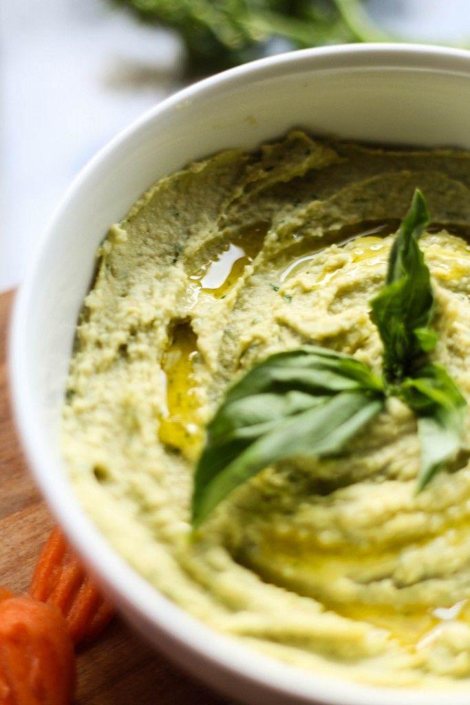 Basil Pesto Hummus; will use my vegan recipe for pesto