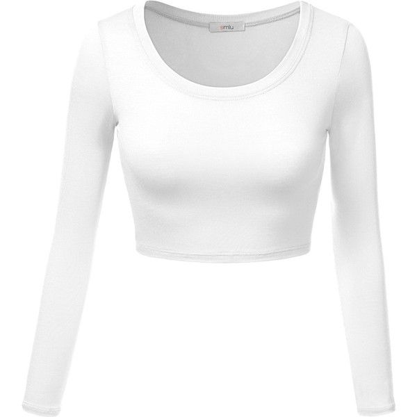 Simlu Womens Crop Top Round Neck Basic Long Sleeve Crop Top With... (32 PEN) ❤ liked on Polyvore featuring tops, knit top, plus size tops, plus size knit tops, white top and white knit top