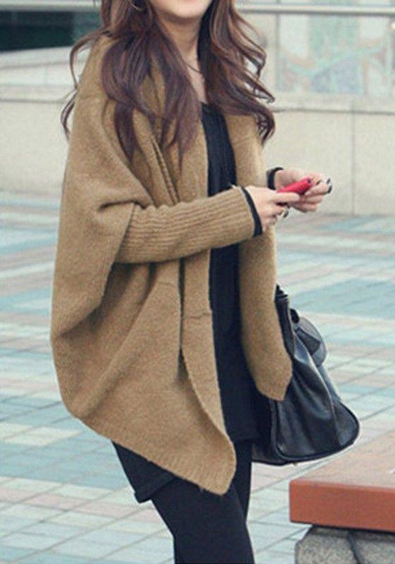 Coffee Plain Pockets Dolman Sleeve Bat Cape Shawl Collar Fashion Knitted Cardigan Sweater