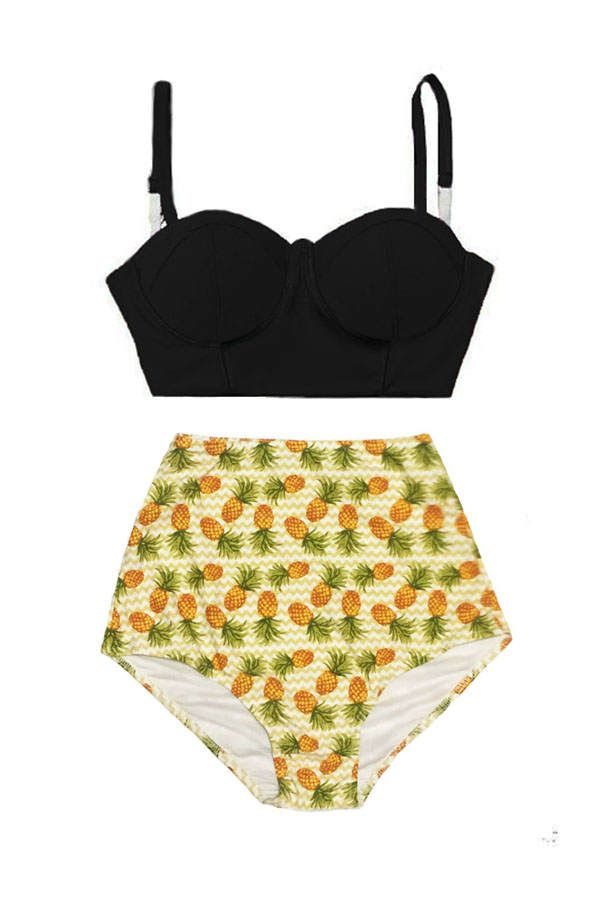 pineapple bathing suits black underwire top and pineapple high waisted waist rise 9527