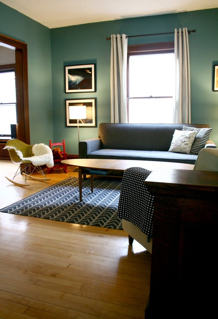 Paint colors for living rooms with wood trim - Love The Wall Colour And Eames Rocking Chair