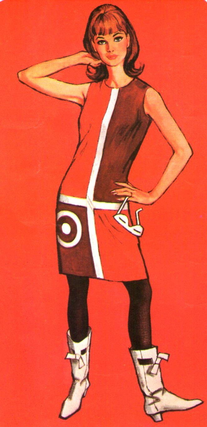 """Sixties fashion illustration - we wore a white """"Go-Go"""" boots with everything!"""
