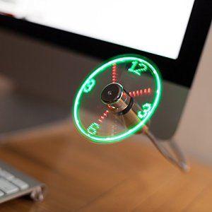 TRIXES Flexible USBbleu LEDhorloge ventilateur avecfonctiond'affichage