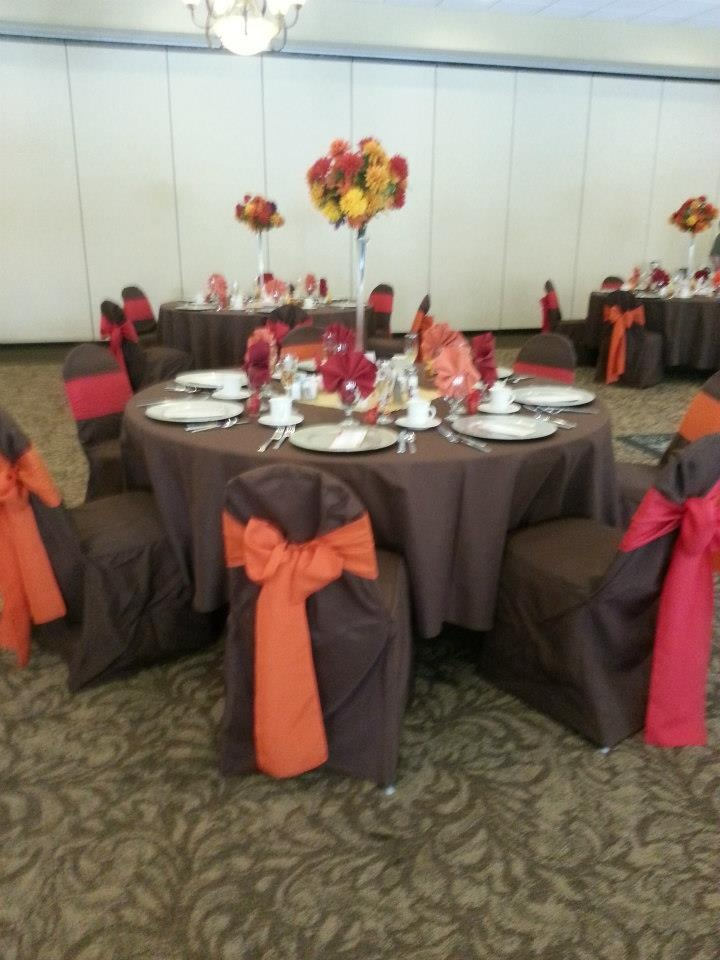 Fall Theme Wedding Brown Chair Covers W Brown Table