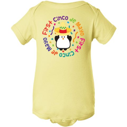 Funny Penguin with First Cinco de Mayo Mexican Independence Day holiday slogan on a confetti covered Infant Creeper. $14.99 www.homewiseshopperkids.com