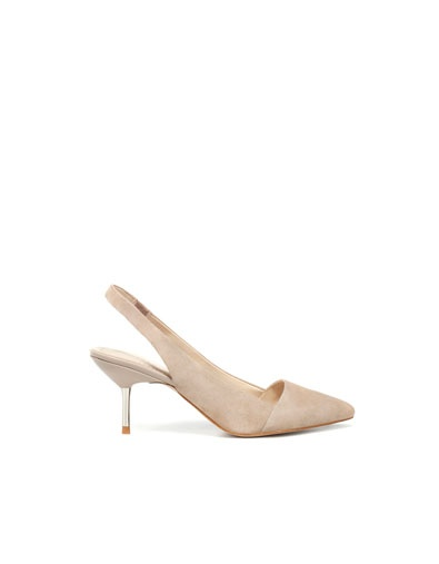POINTED SLINGBACK WITH CONTRAST - Shoes - Woman - ZARA: Metals Heels, Silver Heels, Work Shoes, Woman Shoes, Point Slingback, Women Shoes, Womens Shoes, U.S. States, Zara United States