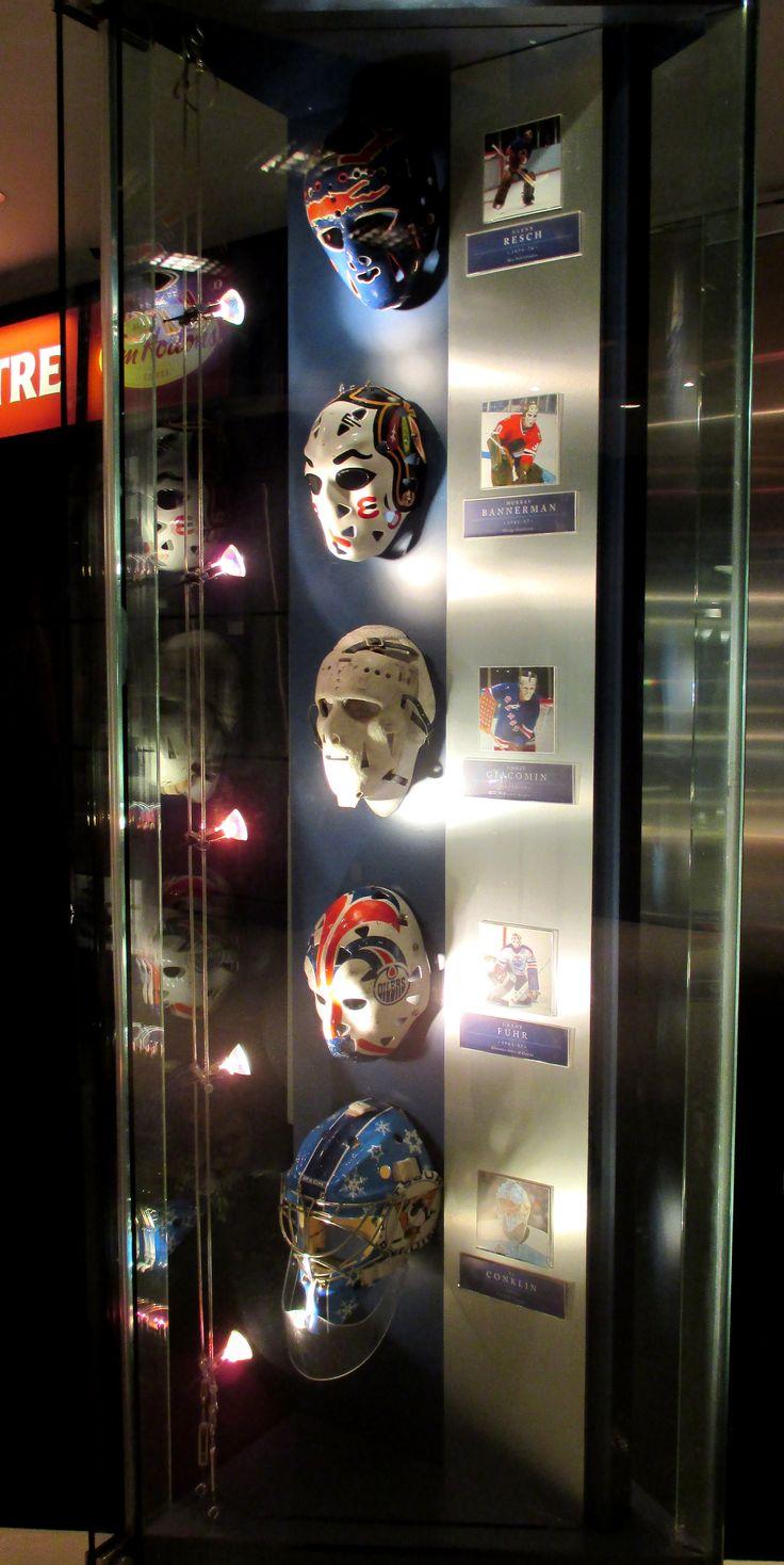 Display of various NHL goalie masks at the Hockey Hall of Fame, Toronto