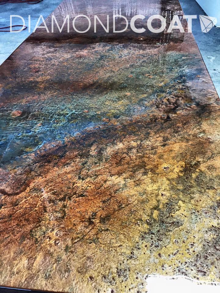 Multi metallic colored epoxy sample