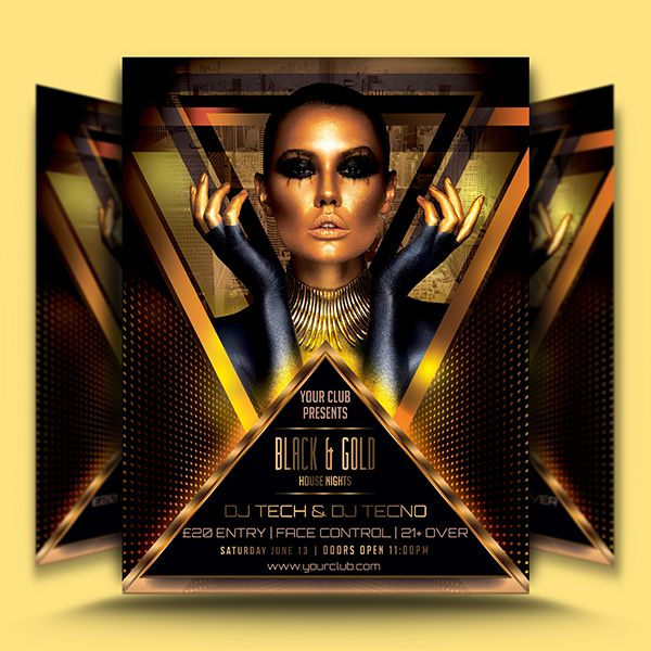 Black Gold Flyer Template is classy flyer template for your club or bar event…