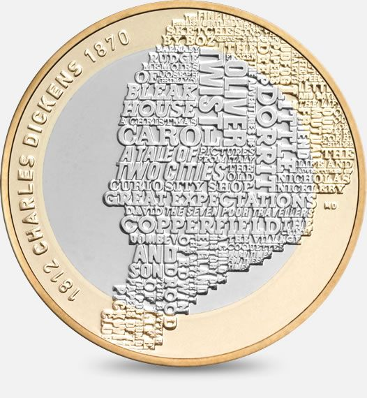 200th Anniversary of the birth of Charles Dickens - 2012   Designed by Matthew Dent  http://www.royalmint.com/discover/uk-coins/coin-design-and-specifications/two-pound-coin/2012-dickens