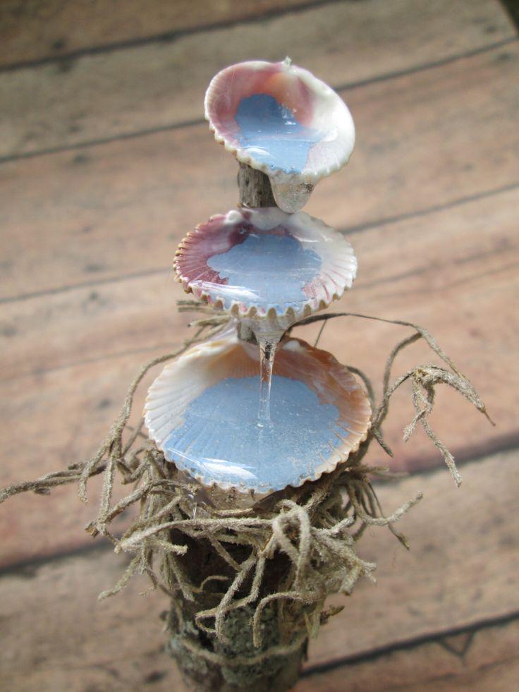 fairy garden seashell water fountain miniature fairy garden accessory by orangehound on etsy https